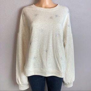 Gap Rhinestone Pullover Sweatshirt Heathered Gray